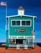 Chips Paintings - Fish and Chips by Ashley Macinnis