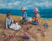 Chesil Beach Prints - Fish and Chips Print by David Fitch
