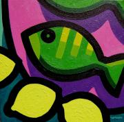 Exotic Fish Paintings - Fish And Lemons by John  Nolan