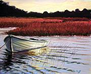 Sunset Pastels Metal Prints - Fish Await Metal Print by Deb LaFogg-Docherty