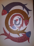 Gond Pardhan Paintings - Fish Ds 07 by Dilip Shyam
