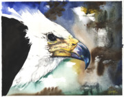 Ground Mixed Media Prints - Fish Eagle II Print by Anthony Burks
