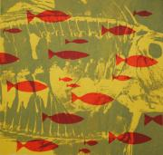 Red Tapestries - Textiles Posters - Fish for Thought Poster by Chris Steinken