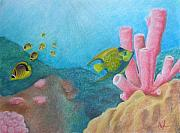 Sea Life Pastels Prints - Fish Garden Print by Adam Johnson