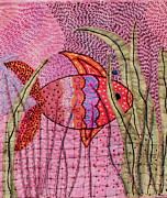 Greeting Cards Tapestries - Textiles Prints - Fish In Pink Print by Jude Ongley-Mowris