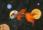 Nora Blansett Paintings - Fish In Space by Nora Blansett
