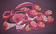 Fish Art Tapestries - Textiles Prints - Fish Journeys Print by Lukandwa Dominic