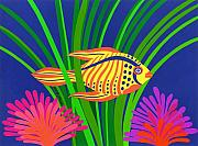 Tropical Fish Drawings Posters - Fish Poster by Lucyna A M Green