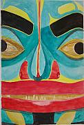 Tribal Art Paintings - Fish Man by Larry Wright