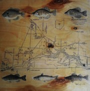 Catfish Mixed Media Prints - Fish Map Print by Robert Cunningham