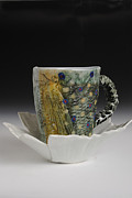 Hand-painted Ceramics Originals - Fish Mug with Handle and Tail Saucer with fly by Mark Chuck
