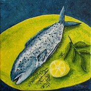 Acrylic Paintings - Fish on a Plate by Andrea Meyer