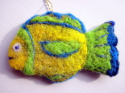 Fun Tapestries - Textiles - Fish Ornament by Kimberly Simon
