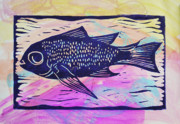 Linocut Mixed Media Posters - Fish Pastel Poster by Diana Blackwell