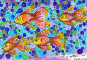 Sealife Art Drawings Posters - FIsh Patterns ACEO Poster by Regina Valluzzi