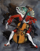 Playing Painting Originals - Fish playing Cello by Ellen Marcus