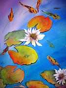 Koi Painting Posters - Fish Pond I Poster by Lil Taylor
