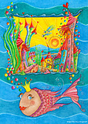 Nursery Room Art Prints Paintings - Fish Queen by Sonja Mengkowski