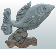 Fish Sculpture Sculpture Posters - Fish Sculpture Poster by Hwaida Bouhamdan