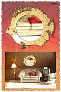 Antique Glass Art - Fish shape mirror with wooden frame by Jafar Ali