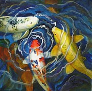Water Garden Paintings - Fish Soup by Pat Burns