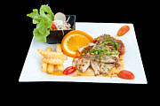 Fries Photo Posters - Fish Steak Poster by Atiketta Sangasaeng