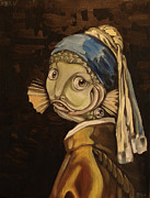Earring Framed Prints - Fish with the Pearl Earring Framed Print by Ellen Marcus