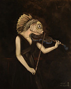 Violin Prints - Fish With Violin Print by Ellen Marcus