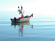 Fishing Boat Reflection Posters - Fisher-boat In Baltic Sea Poster by Km-foto