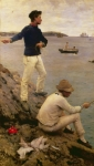 Standing Painting Framed Prints - Fisher Boys Falmouth Framed Print by Henry Scott Tuke