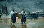 Boats On Water Framed Prints - Fisher Girls by the Sea Framed Print by Winslow Homer