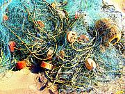 Michael Metal Prints - Fisher Nets on the Beach by Michael Fitzpatrick Metal Print by Olden Mexico