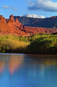 Riverbank Framed Prints - Fisher Towers Framed Print by Proframe Photography