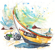 Atlantic Beaches Drawings Prints - Fisherboat in Praia de Mira Print by Miki De Goodaboom
