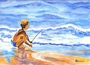 Juvenile Paintings - Fisherboy by Carol Wisniewski