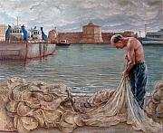 Storm Clouds Paintings - Fisherman after the storm by Irene Anna Vianello