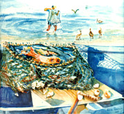 Puerto Rico Paintings - Fisherman and His Assistants by Estela Robles