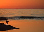 Ludington State Park Posters - Fisherman at Sunset Poster by Twenty Two North Photography