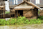 Siem Reap Photo Posters - Fisherman Boat House Poster by Artur Bogacki