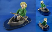 Small Statue Ceramics - Fisherman by Bob Dann