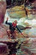 Fishing Painting Posters - Fisherman By Stream Poster by Phillip R Goodwin
