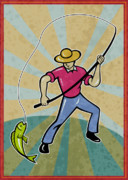 Catching Digital Art Prints - Fisherman catching fish Print by Aloysius Patrimonio