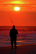 Atlantic Beaches Metal Prints - Fisherman Metal Print by David Hahn