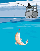 Marine Life Metal Prints - Fisherman Fishing Trout Fish Retro Metal Print by Aloysius Patrimonio
