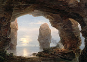 Rock Formation Paintings - Fisherman in a Grotto Helgoland by Christian Ernst Bernhard Morgenstern