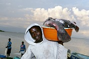 Fish Bowl Prints - Fisherman, Lake Victoria, Kenya Print by Volker Steger