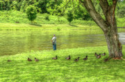 Lazy Digital Art Prints - Fisherman Lazy Day at the Lake Print by Randy Steele