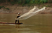 Laos Posters - Fisherman Mekong 4 Poster by Bob Christopher