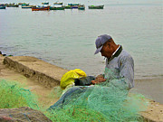 Mending Digital Art Framed Prints - Fisherman Mending Nets in Chorillos near Lima Framed Print by Ruth Hager