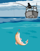Jumping   Digital Art Posters - Fisherman on boat trout  Poster by Aloysius Patrimonio